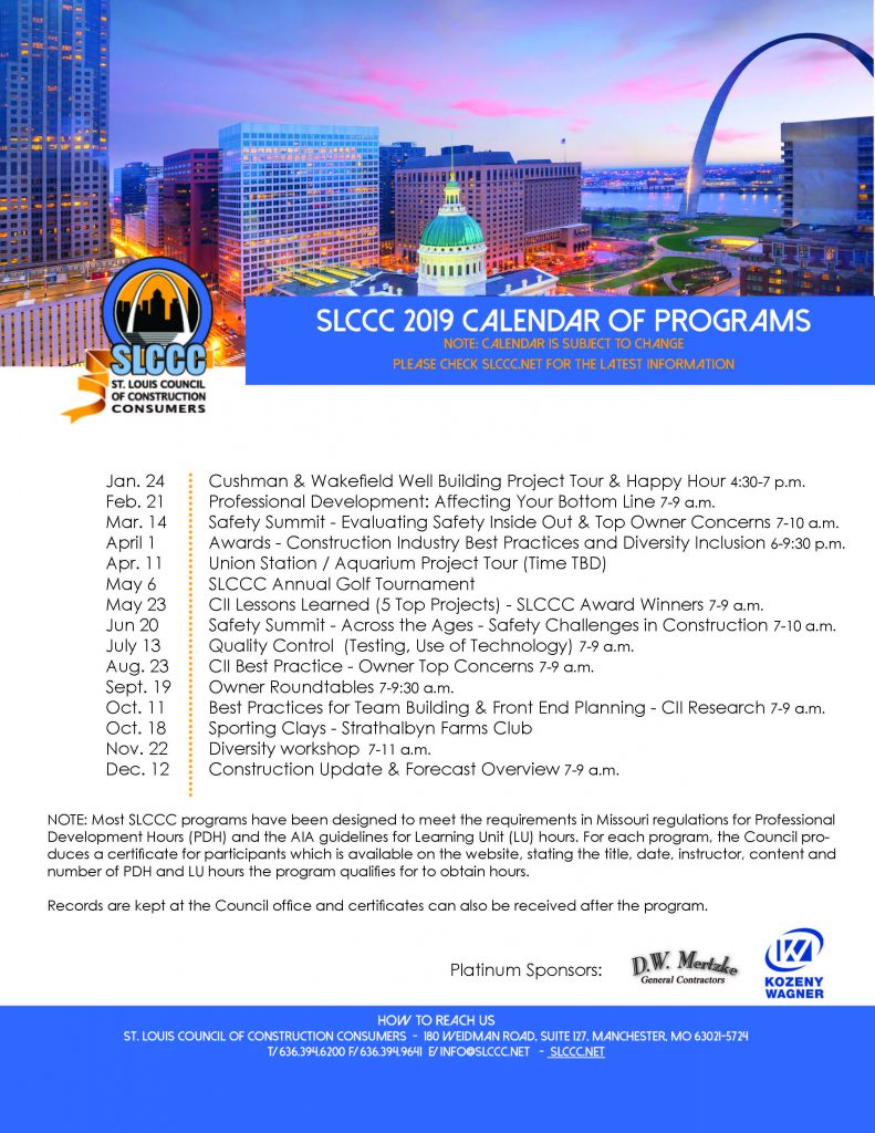 2019 SLCCC Calendar of Events